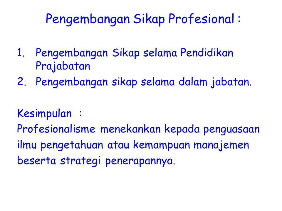 Pengembangan Sikap Profesional :