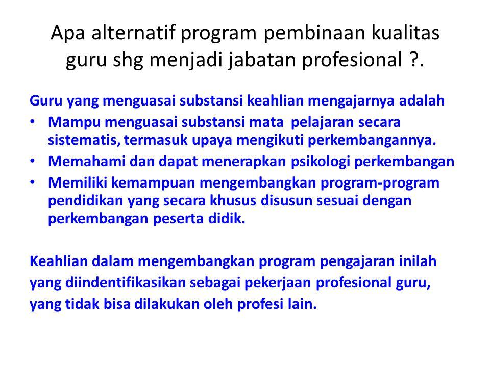 Apa alternatif program pembinaan kualitas guru shg menjadi jabatan profesional .