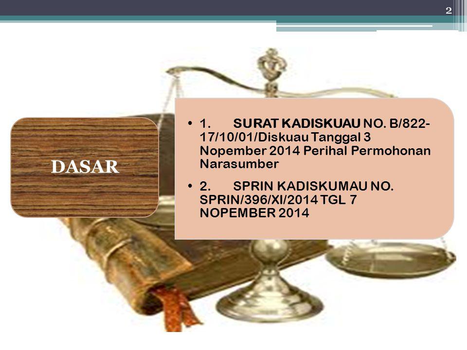 DASAR 1. SURAT KADISKUAU NO. B/822-17/10/01/Diskuau Tanggal 3 Nopember 2014 Perihal Permohonan Narasumber.