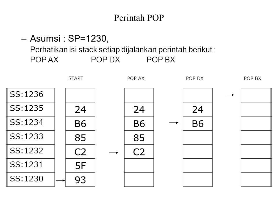 Perintah POP Asumsi : SP=1230, 24 B6 85 C2 5F 93
