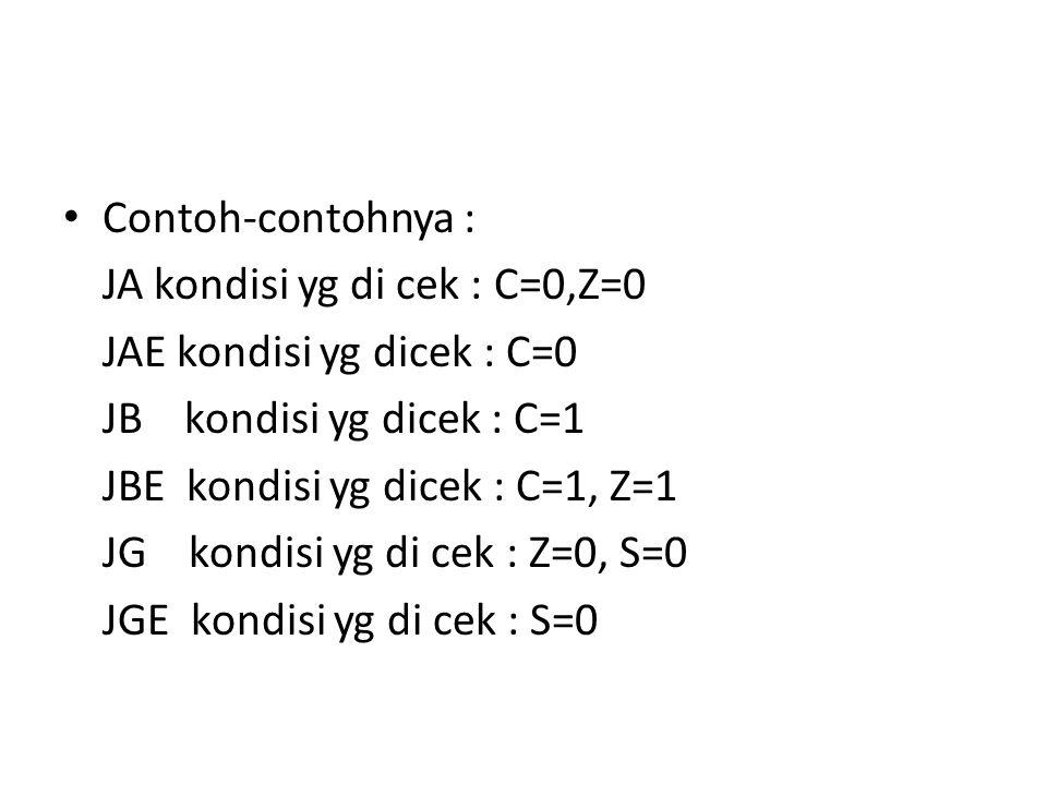 Contoh-contohnya : JA kondisi yg di cek : C=0,Z=0. JAE kondisi yg dicek : C=0. JB kondisi yg dicek : C=1.