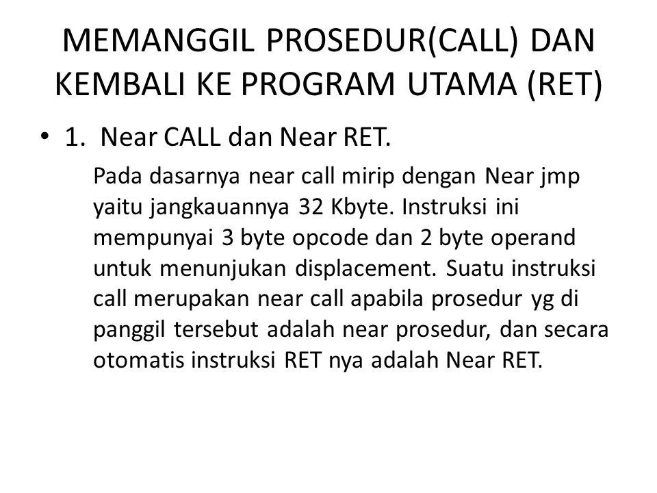 MEMANGGIL PROSEDUR(CALL) DAN KEMBALI KE PROGRAM UTAMA (RET)