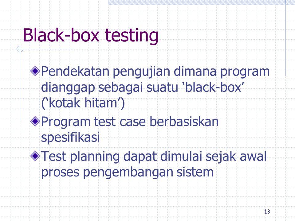 Black-box testing Pendekatan pengujian dimana program dianggap sebagai suatu 'black-box' ('kotak hitam')