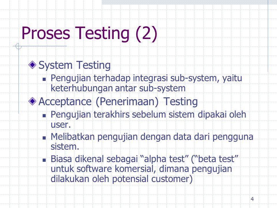 Proses Testing (2) System Testing Acceptance (Penerimaan) Testing