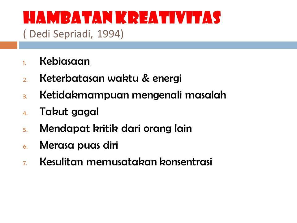 Hambatan kreativitas ( Dedi Sepriadi, 1994)