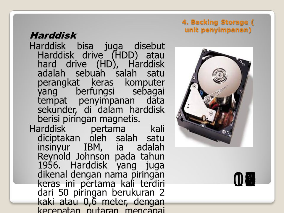 4. Backing Storage ( unit penyimpanan)
