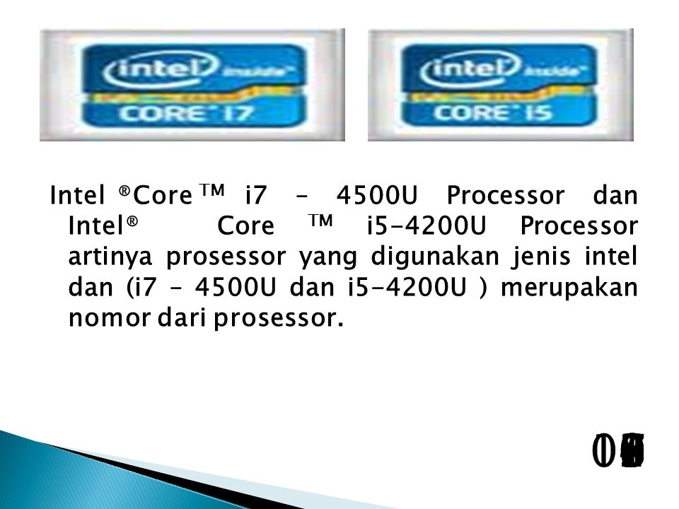 Intel. ®Core TM. i7 – 4500U Processor dan Intel®