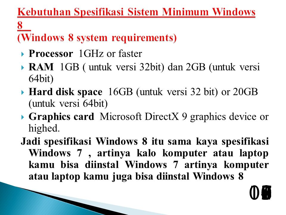 Kebutuhan Spesifikasi Sistem Minimum Windows 8 (Windows 8 system requirements)