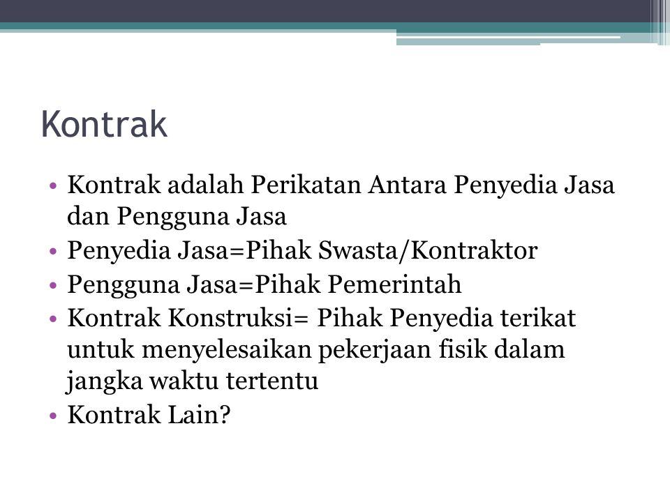Kontrak Kontrak adalah Perikatan Antara Penyedia Jasa dan Pengguna Jasa. Penyedia Jasa=Pihak Swasta/Kontraktor.