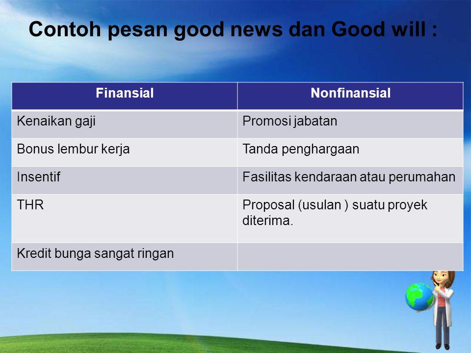 Contoh pesan good news dan Good will :