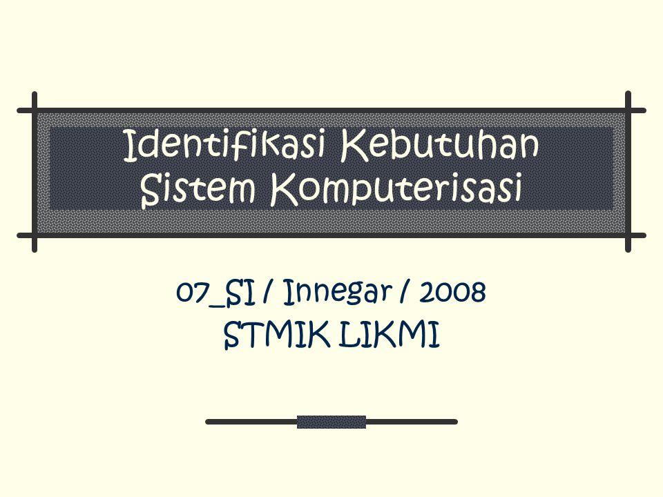 Identifikasi Kebutuhan Sistem Komputerisasi