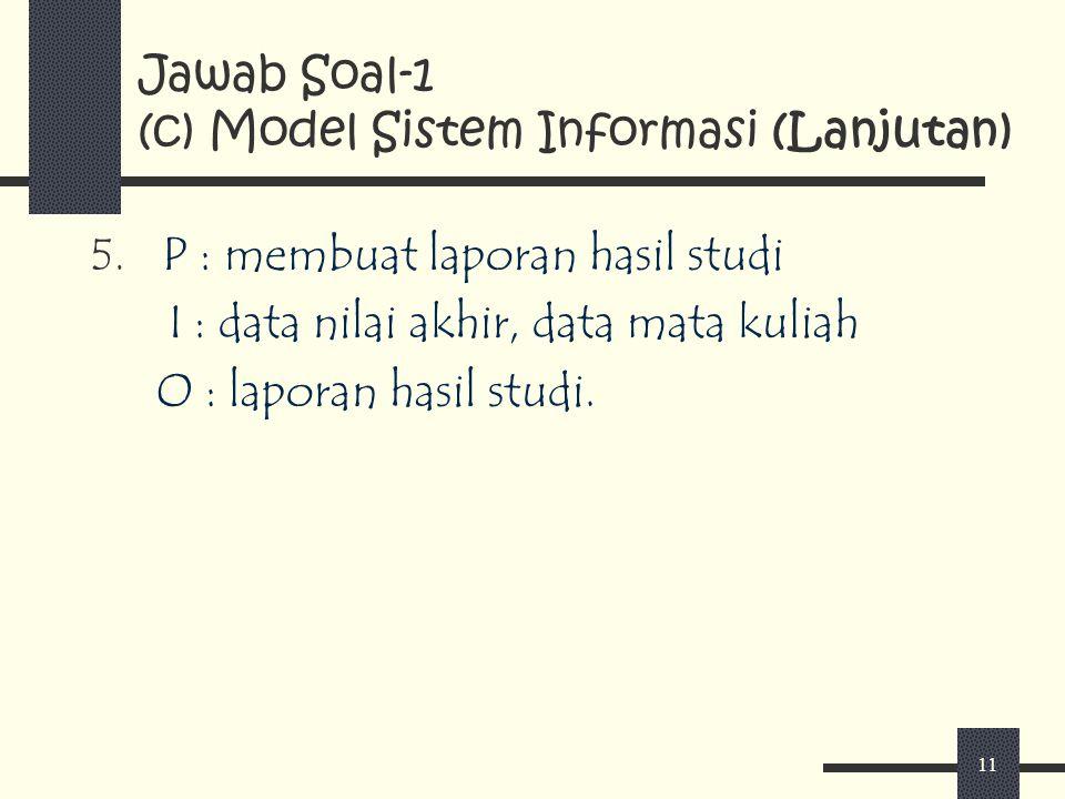 Jawab Soal-1 (c) Model Sistem Informasi (Lanjutan)