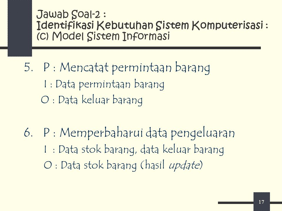 P : Mencatat permintaan barang