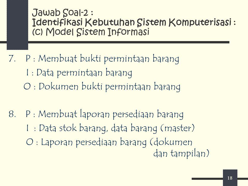 P : Membuat bukti permintaan barang I : Data permintaan barang