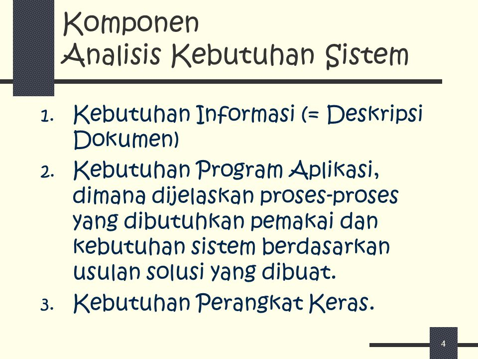 Komponen Analisis Kebutuhan Sistem