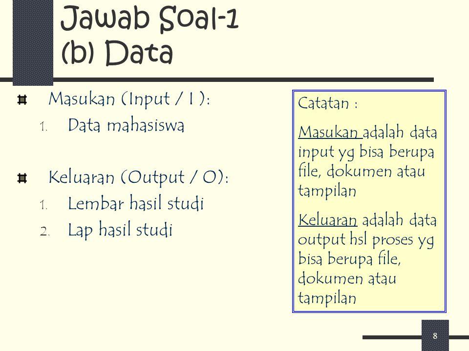 Jawab Soal-1 (b) Data Masukan (Input / I ): Data mahasiswa
