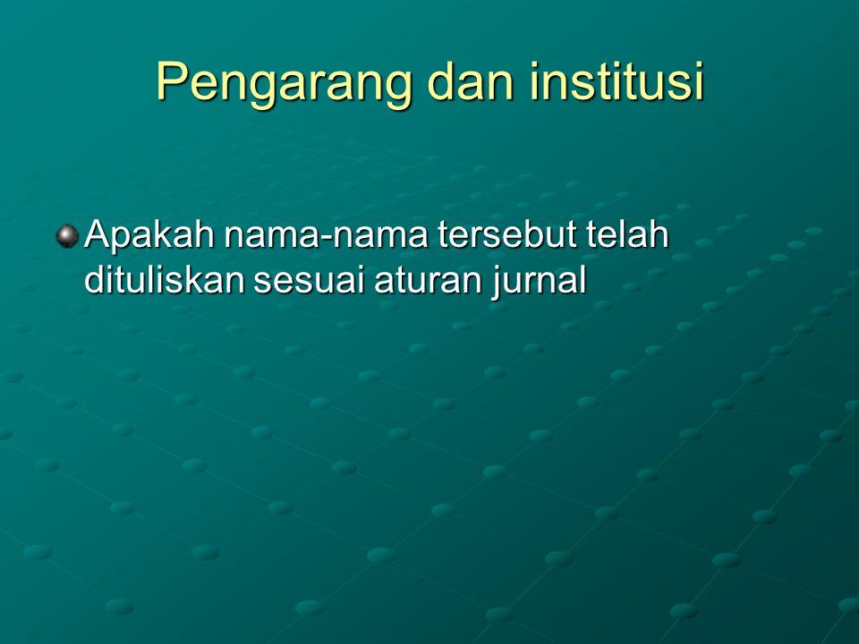 Pengarang dan institusi