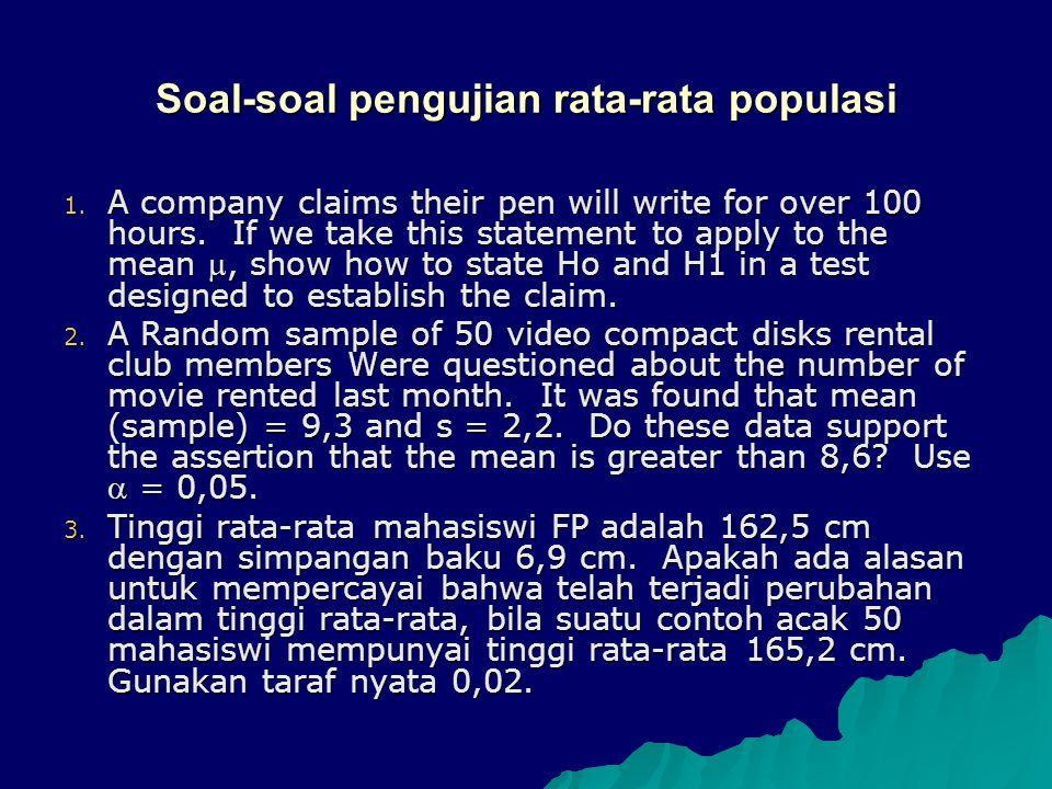 Soal-soal pengujian rata-rata populasi