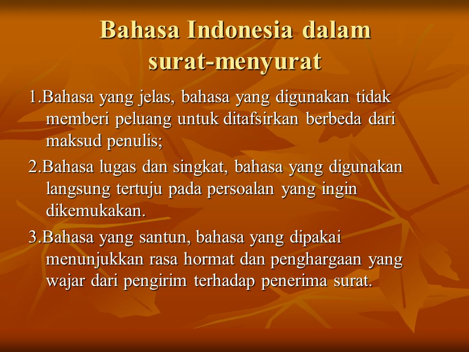 Bahasa Indonesia dalam surat-menyurat