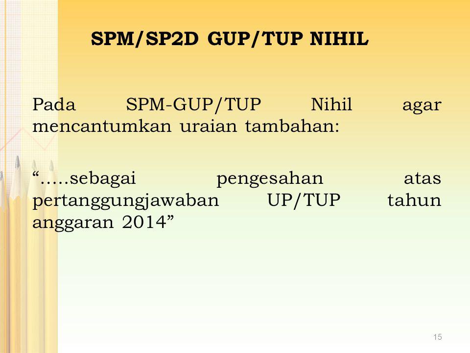 SPM/SP2D GUP/TUP NIHIL Pada SPM-GUP/TUP Nihil agar mencantumkan uraian tambahan: