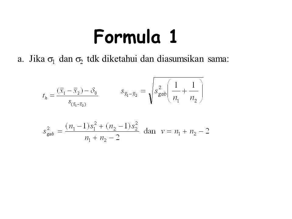 Formula 1 a. Jika 1 dan 2 tdk diketahui dan diasumsikan sama: