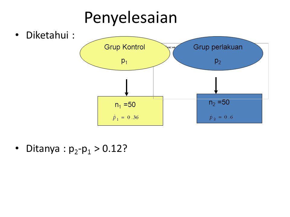 Penyelesaian Diketahui : Ditanya : p2-p1 > 0.12 Grup Kontrol p1