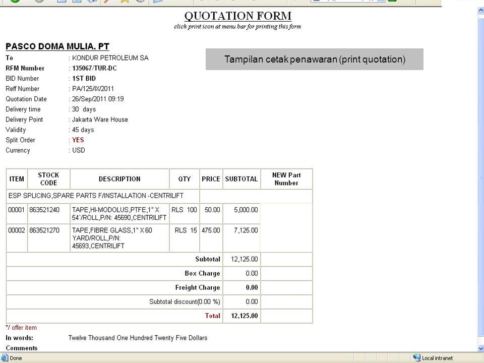 Tampilan cetak penawaran (print quotation)