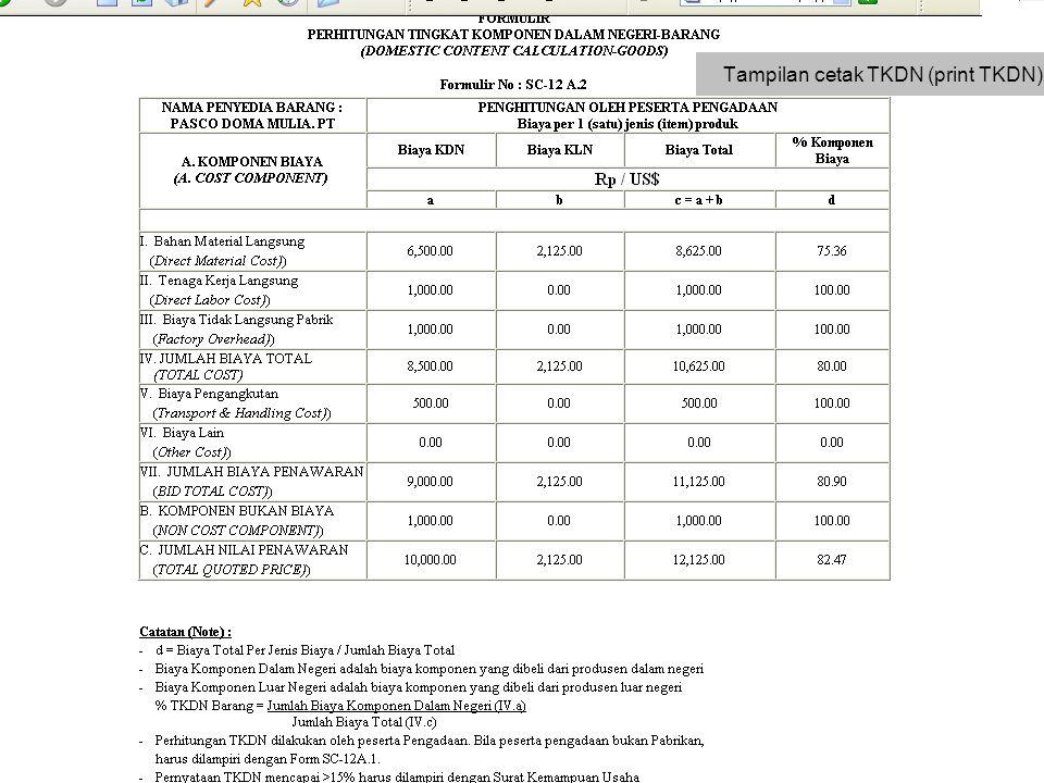 Tampilan cetak TKDN (print TKDN)