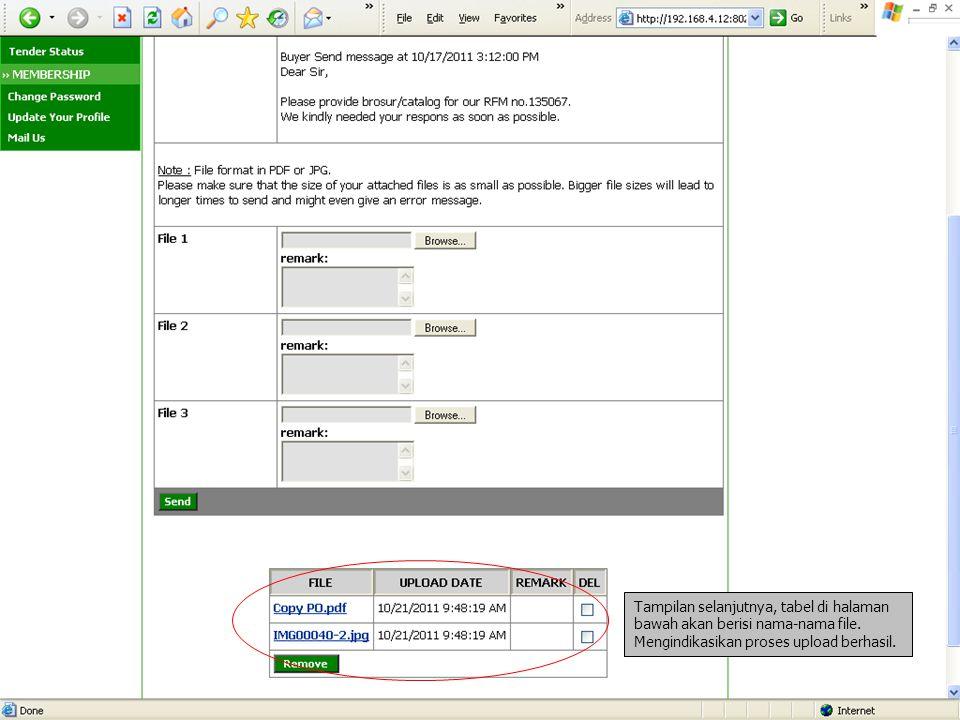 Tampilan selanjutnya, tabel di halaman bawah akan berisi nama-nama file.