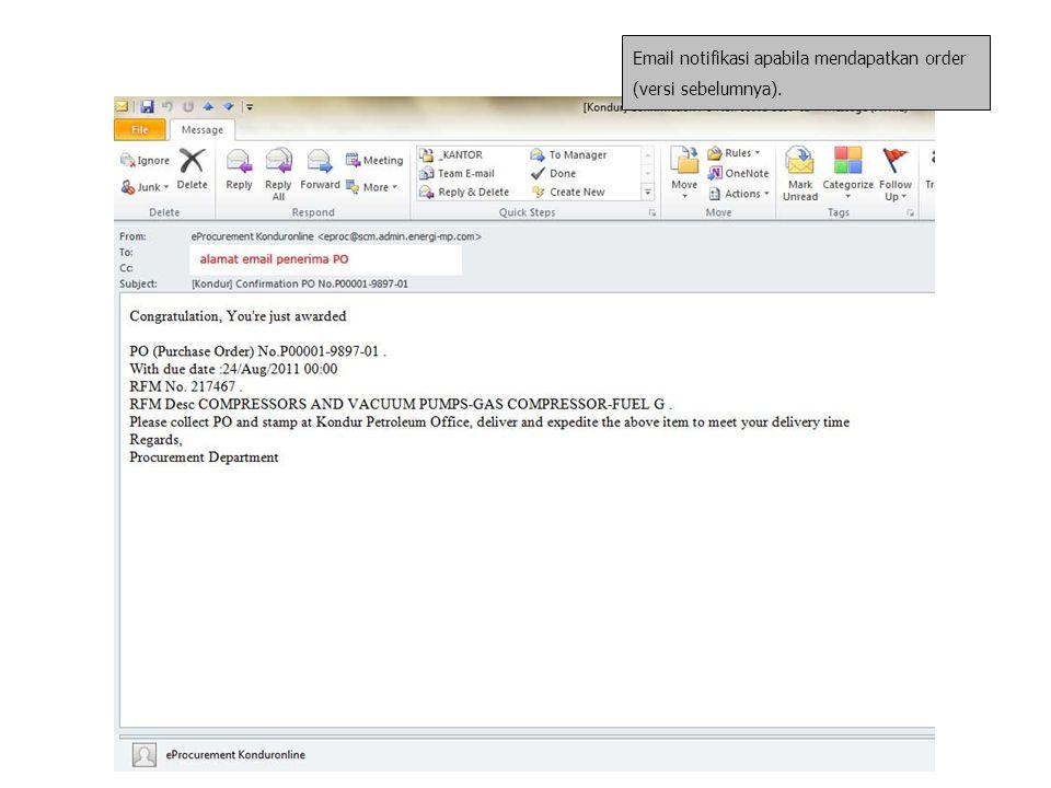 Email notifikasi apabila mendapatkan order (versi sebelumnya).