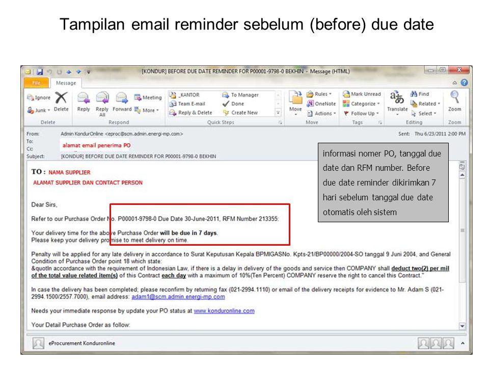 Tampilan email reminder sebelum (before) due date