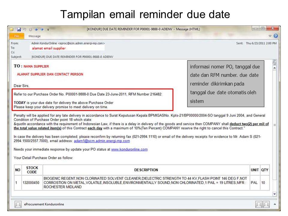 Tampilan email reminder due date