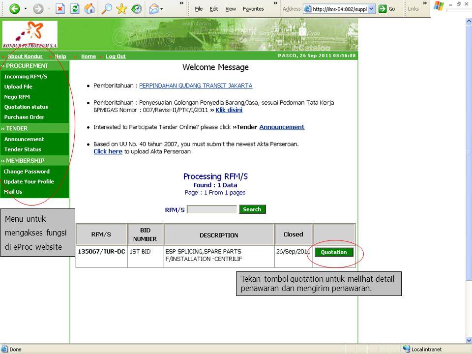 Menu untuk mengakses fungsi di eProc website