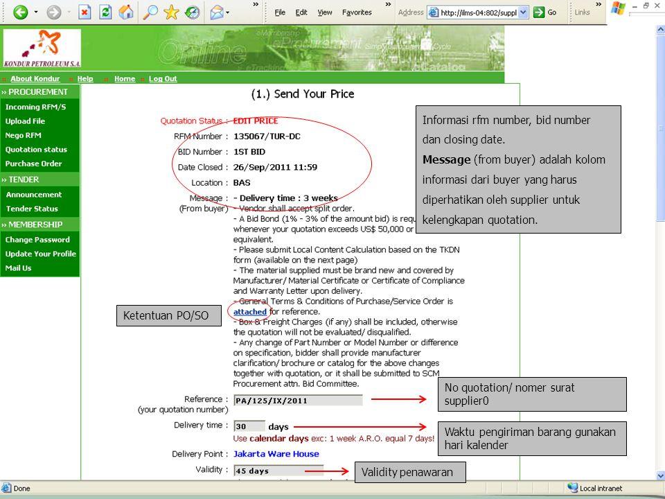 Informasi rfm number, bid number