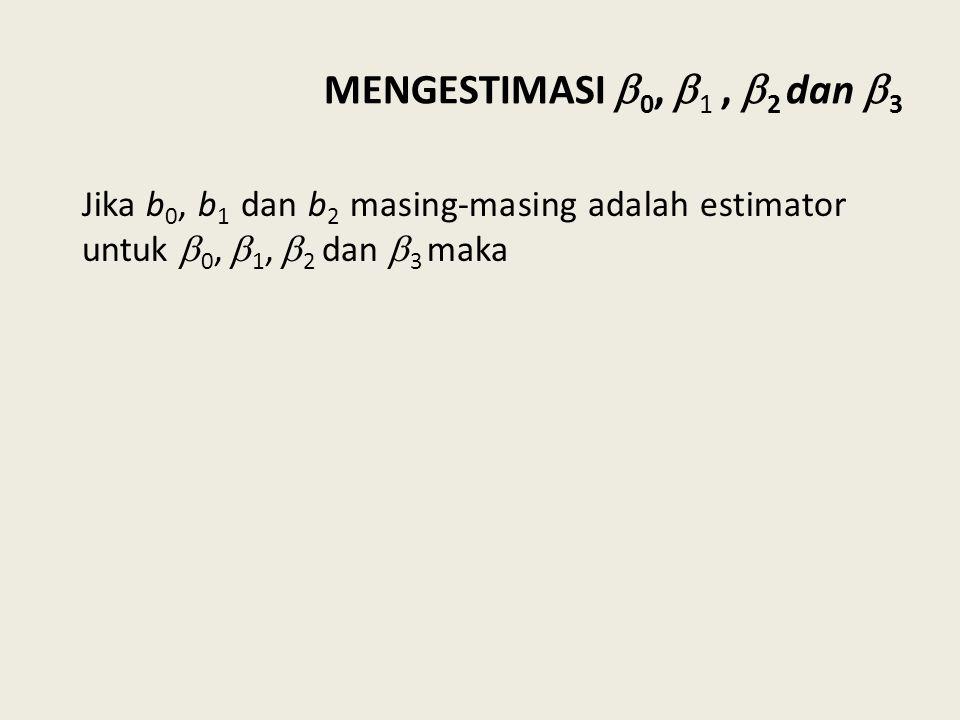 MENGESTIMASI 0, 1 , 2 dan 3 Jika b0, b1 dan b2 masing-masing adalah estimator untuk 0, 1, 2 dan 3 maka.