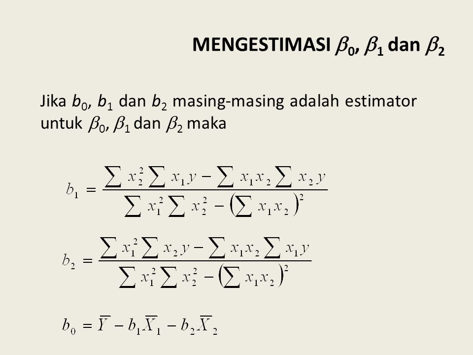 MENGESTIMASI 0, 1 dan 2 Jika b0, b1 dan b2 masing-masing adalah estimator untuk 0, 1 dan 2 maka.