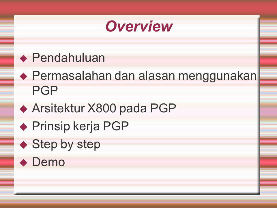 Overview Pendahuluan Permasalahan dan alasan menggunakan PGP