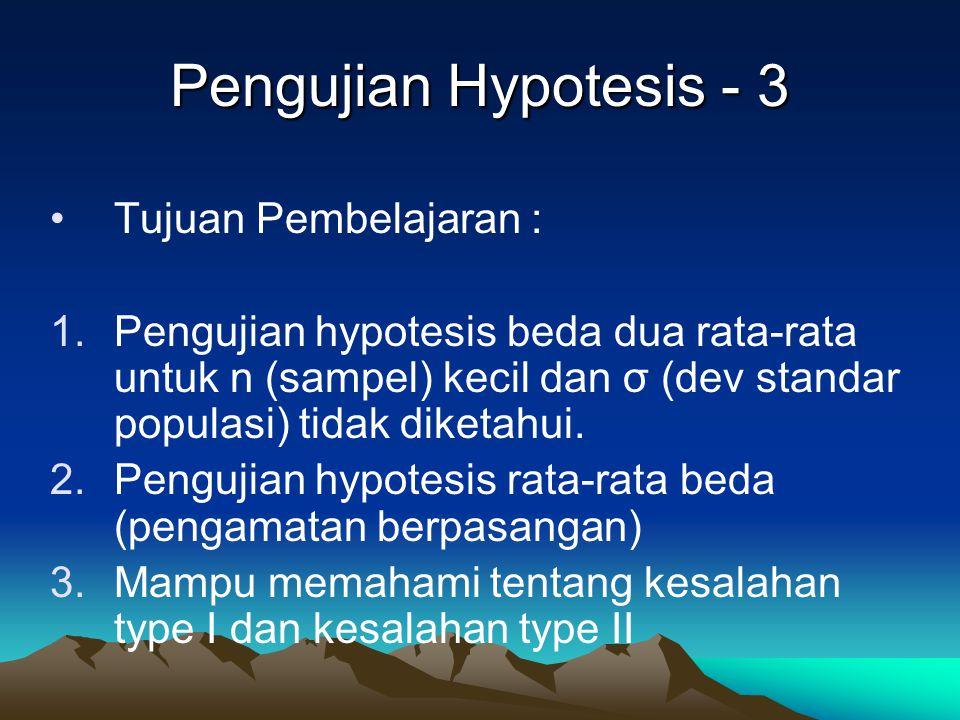 Pengujian Hypotesis - 3 Tujuan Pembelajaran :