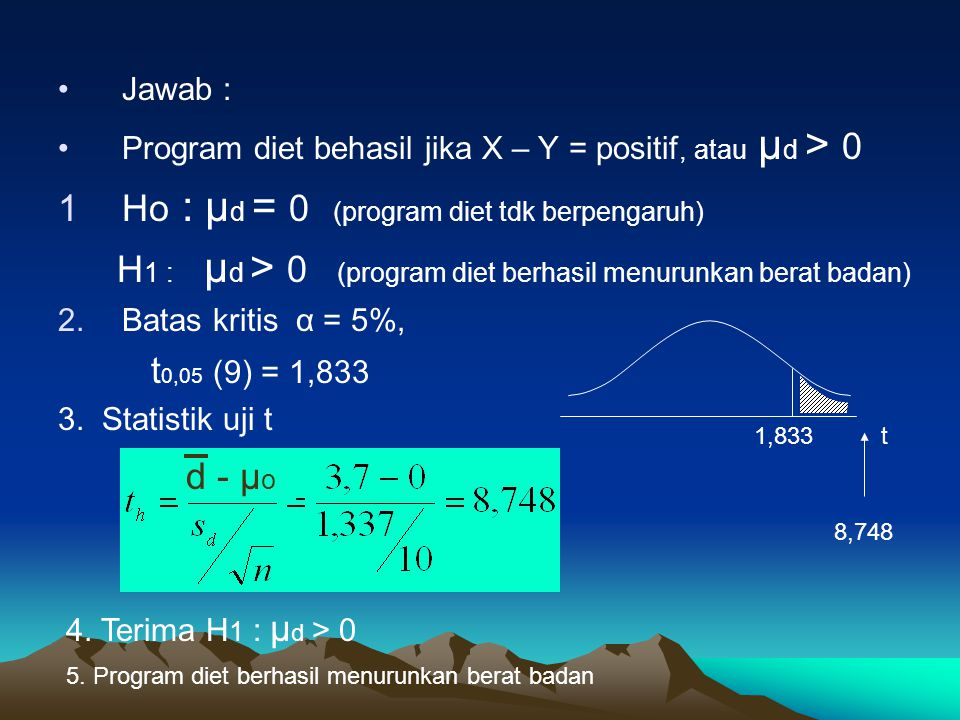 H1 : μd > 0 (program diet berhasil menurunkan berat badan)