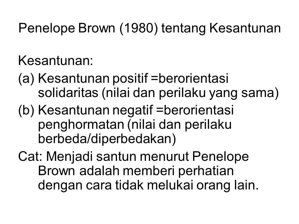 Penelope Brown (1980) tentang Kesantunan