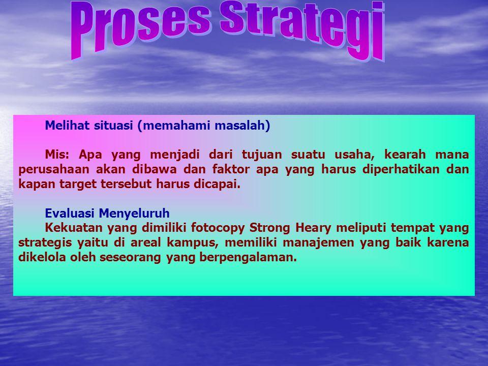 Proses Strategi Melihat situasi (memahami masalah)