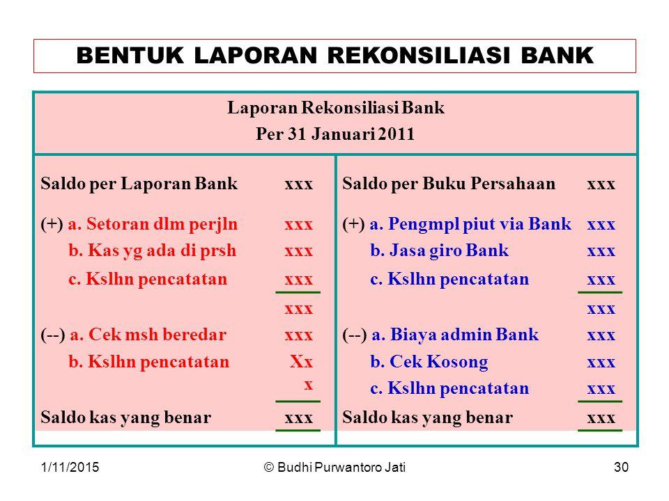 BENTUK LAPORAN REKONSILIASI BANK Laporan Rekonsiliasi Bank