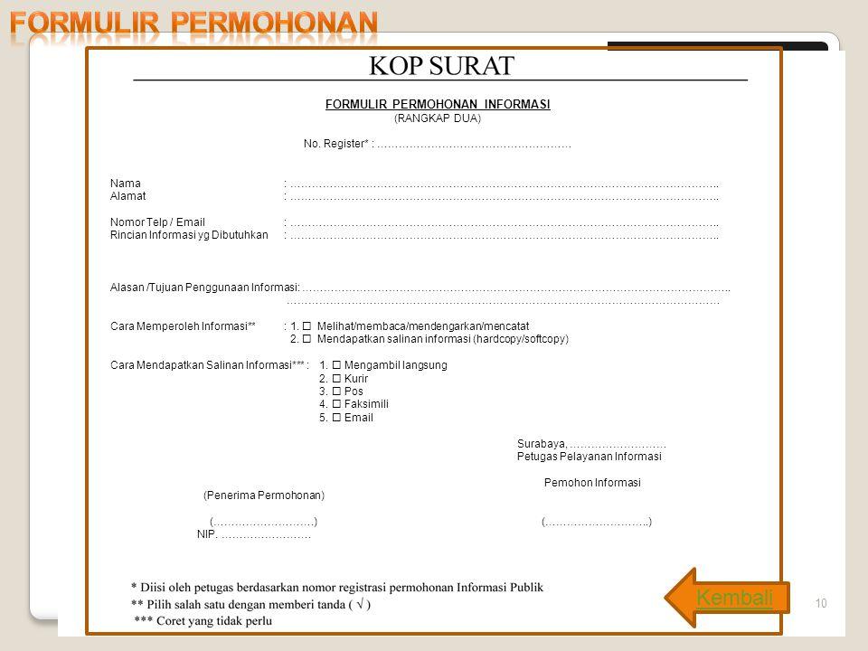 Formulir permohonan * Kembali No. Register