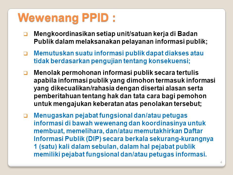 Wewenang PPID : Mengkoordinasikan setiap unit/satuan kerja di Badan Publik dalam melaksanakan pelayanan informasi publik;