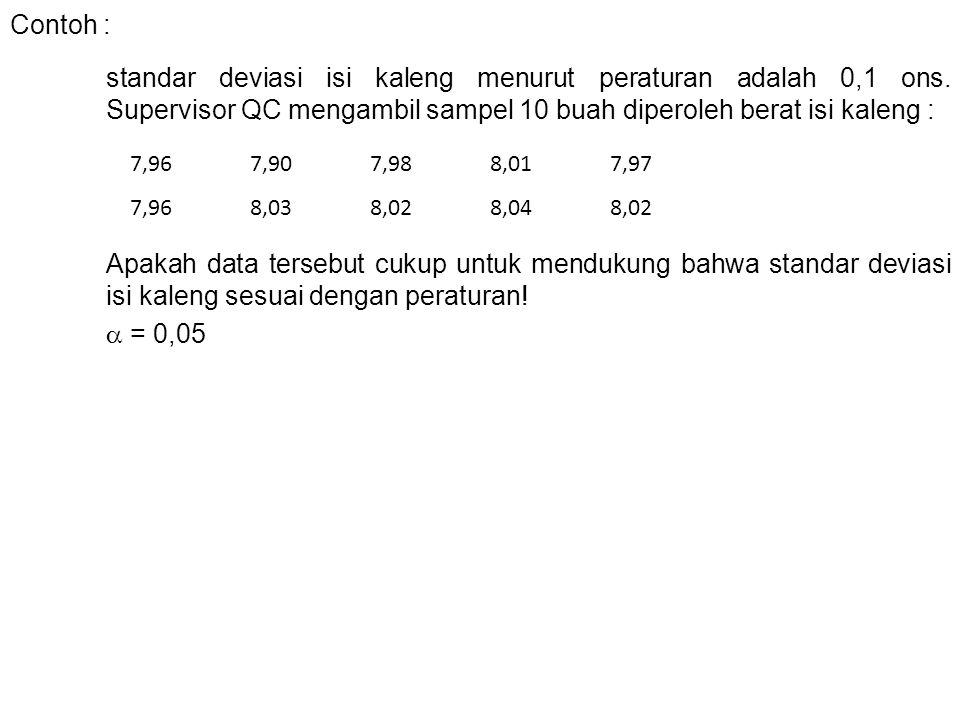 Contoh : standar deviasi isi kaleng menurut peraturan adalah 0,1 ons. Supervisor QC mengambil sampel 10 buah diperoleh berat isi kaleng :