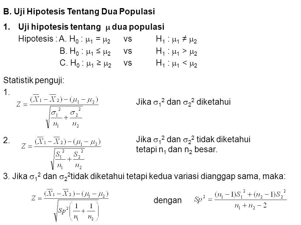 B. Uji Hipotesis Tentang Dua Populasi