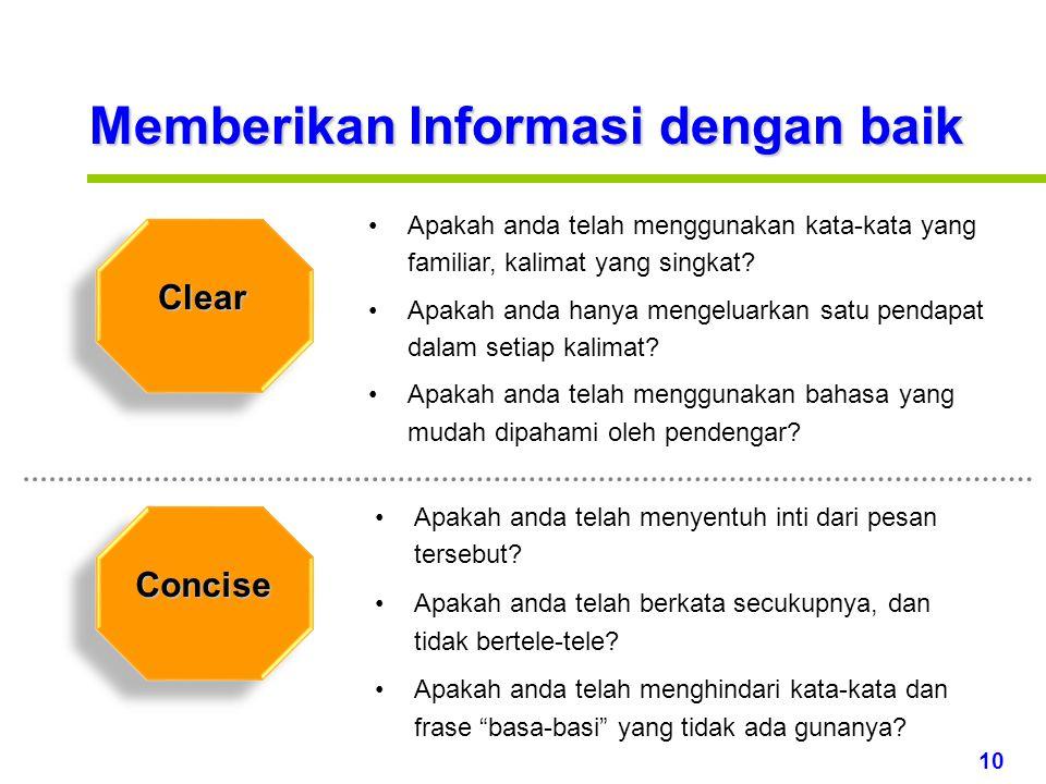 Memberikan Informasi dengan baik