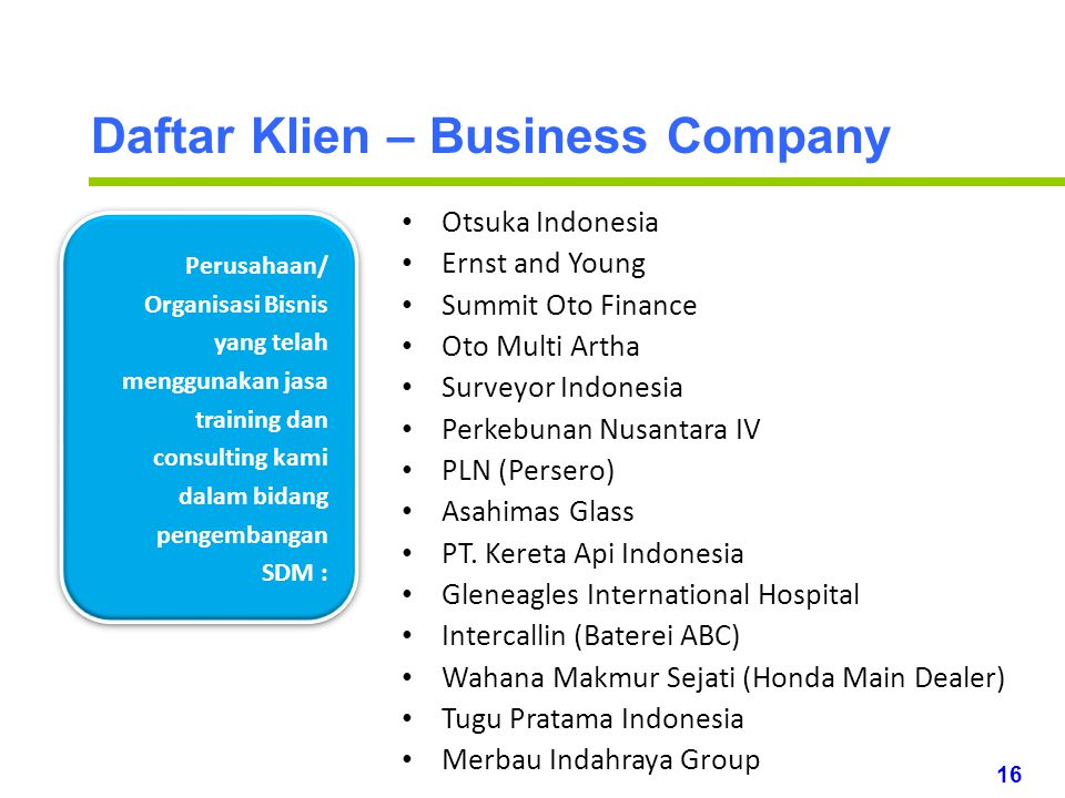 Daftar Klien – Business Company