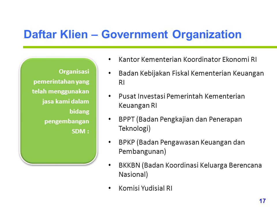 Daftar Klien – Government Organization