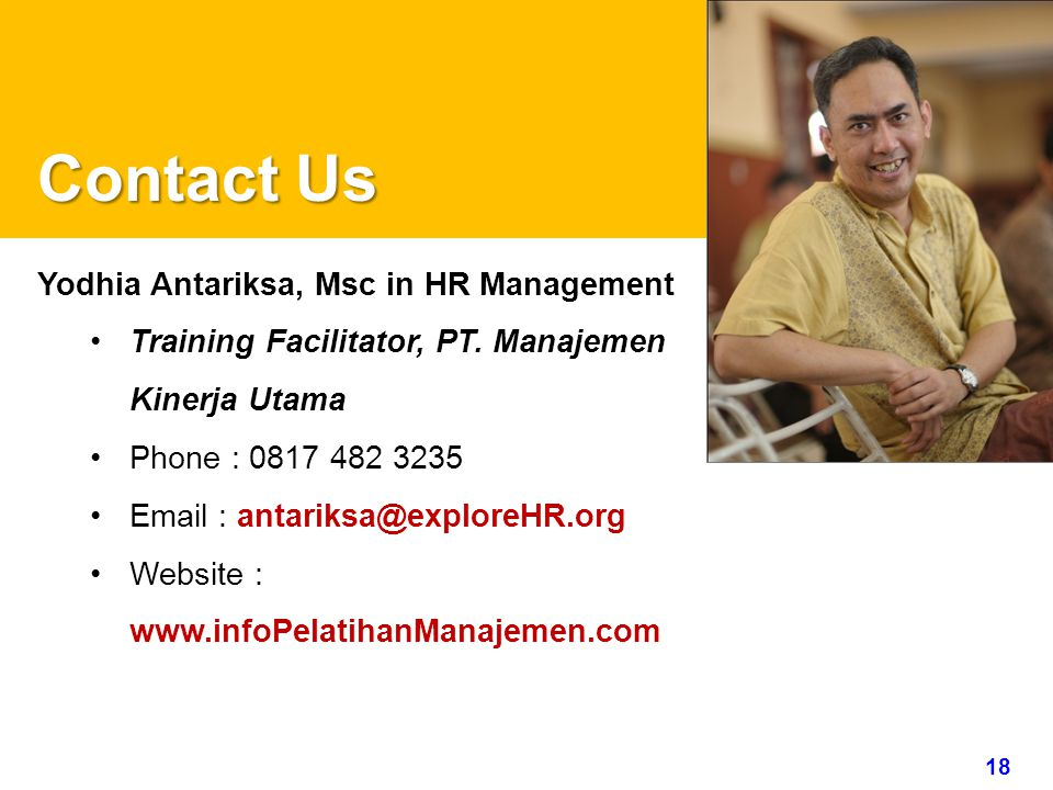 Contact Us Yodhia Antariksa, Msc in HR Management